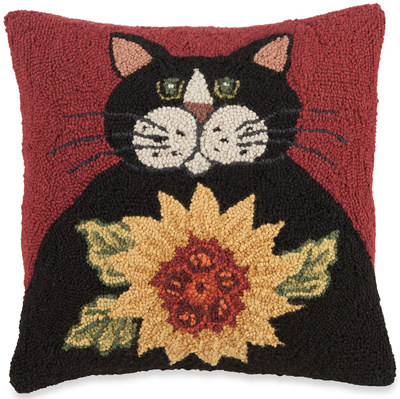 Black Cat & Sunflower Hooked Wool Pillow