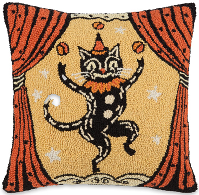 Juggling Black Cat Hooked Wool Pillow