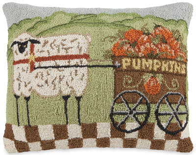 Sheep & Pumpkins Cart Hooked Wool Pillow
