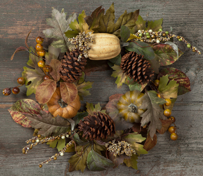 Pumpkins & Pinecones Mini Wreath