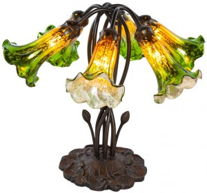 Six Lily Mercury Glass Table Lamp