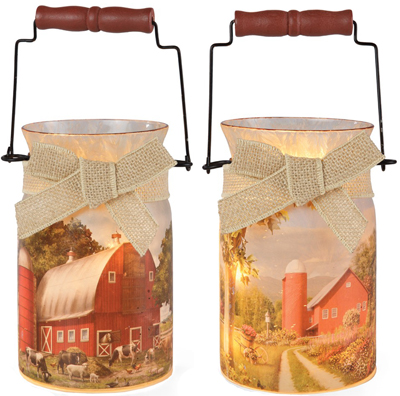 Farmyard Glass Lights (Set of Two)