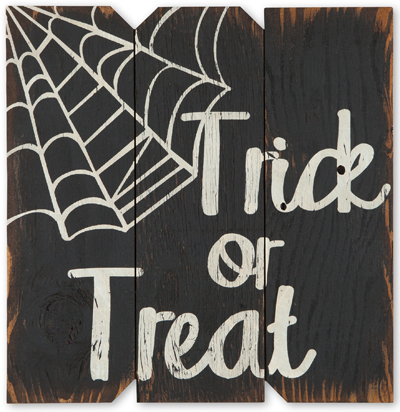 Trick Or Treat Spider Web Sign