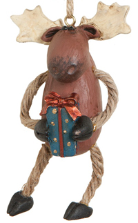 Folk Art Festive Moose Ornament