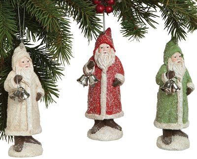 Glittered Santa Ornament Set