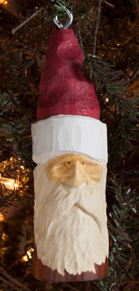 Handcarved Santa Wood Ornament