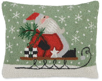 Santa Sleigh Hooked Wool Pillow