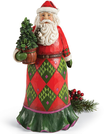 Santa With Evergreen Sculpture