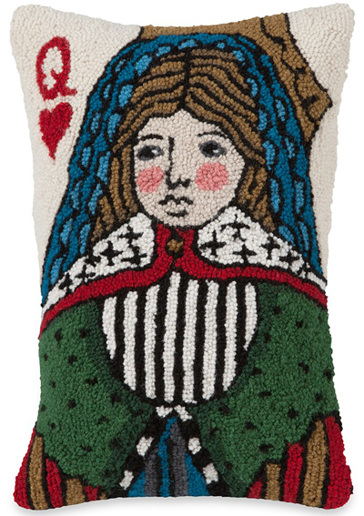 Folk Art Queen of Hearts Hooked Wool Pillow