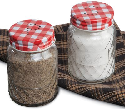 Red Gingham Check Salt & Pepper Shakers