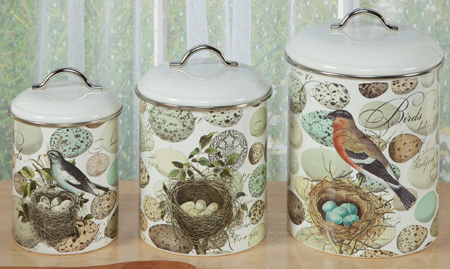 Bird Nest & Eggs Canister Set