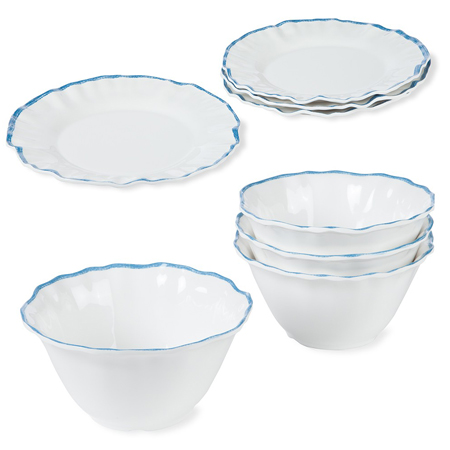 Blue Ruffle Melamine Plates and Bowls