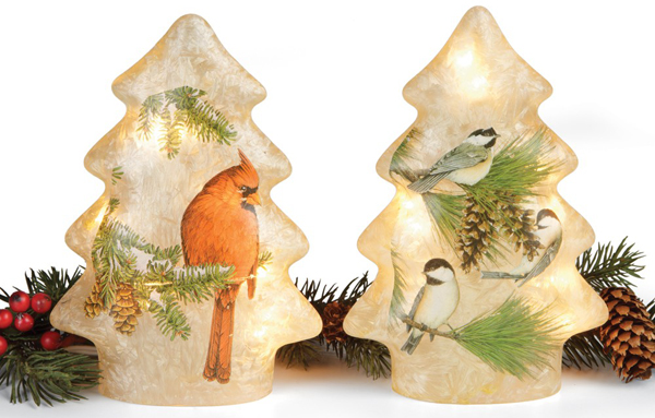 Cardinal & Chickadee Glass Tree Lights