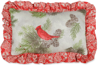 Snowy Cardinal Quilted Pillow