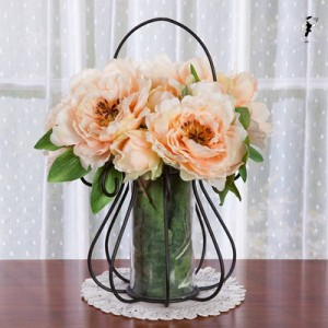 Peony Bouquets in Wire Scroll & Glass Vase