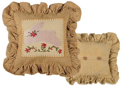 Primitive Country Calico Bunny Pillow