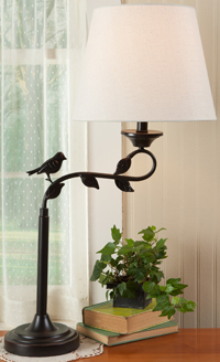 Bird & Leaf Swing Arm Table Lamp