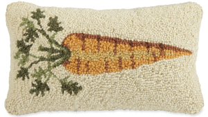 Carrot Hooked Wool Pillow