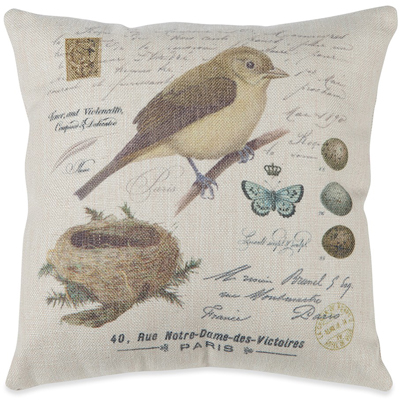 Country Spring Bird Nest Pillow