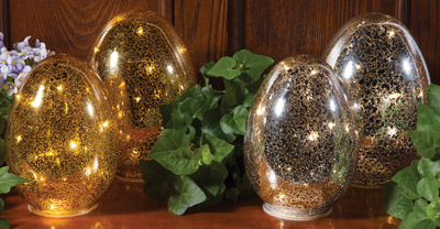 Mercury Glass Egg Accent Light Set