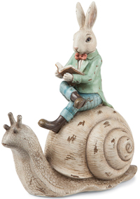 Rabbit Riding Snail Sculpture