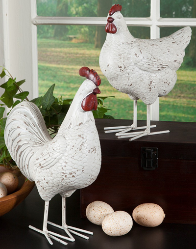 White Rooster & Hen Set