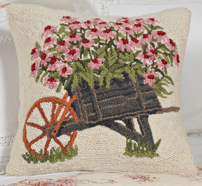 Floral Cart Hooked Wool Pillow
