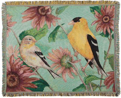 Yellow Finches Throw Blanket