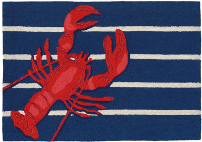 Lobster on Stripes Accent Rug