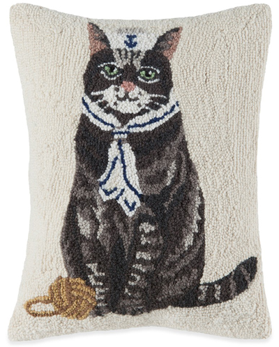 Sailor Cat Hooked Wool Pillow