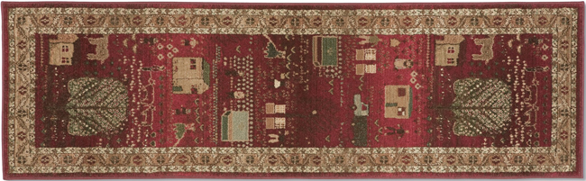 Crimson Folk Art Family Rug Runner