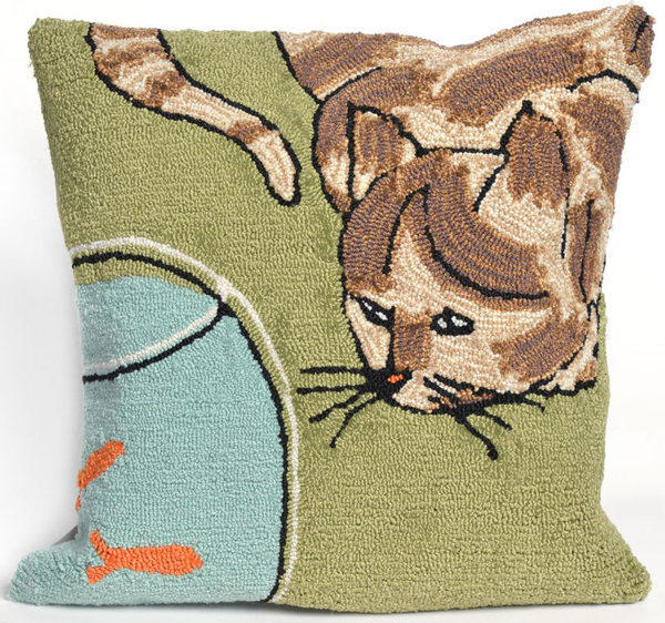 Curious Cat Indoor/Outdoor Pillow