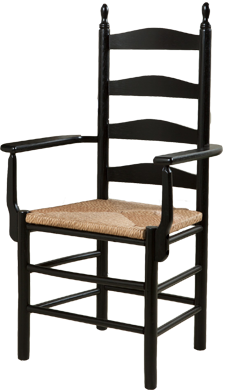 Ladderback Arm Chair in Black