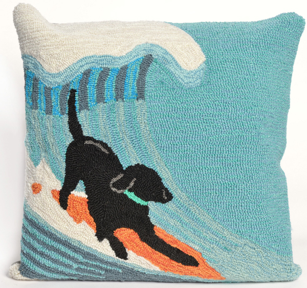 Surfing Dog Indoor/Outdoor Pillow