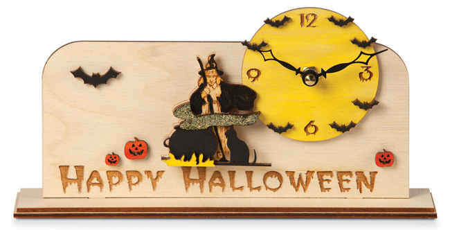 Happy Halloween Handcrafted Wood Clock