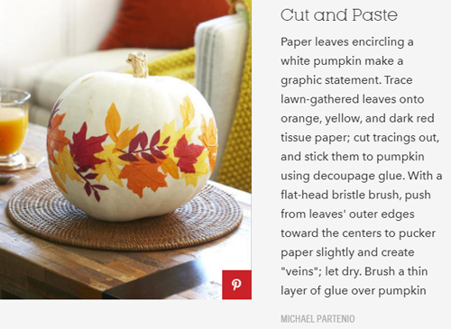 Cut & Paste Leaves on Pumpkin | Good Housekeeping