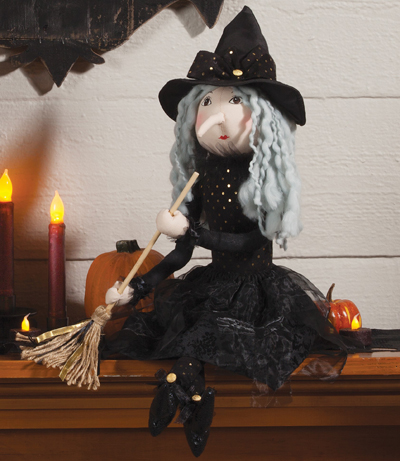 Nellie with Broom Witch Sculpture