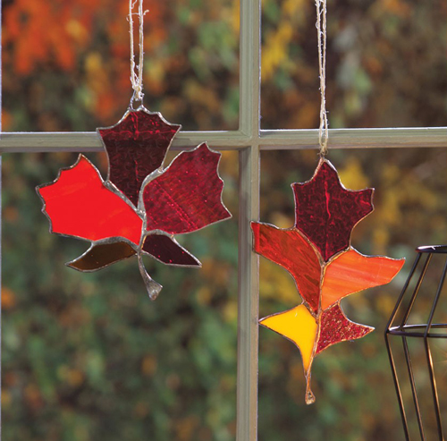 Stained Glass Hanging Leaves