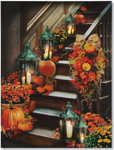 Pumpkin Staircase Lighted Canvas Print