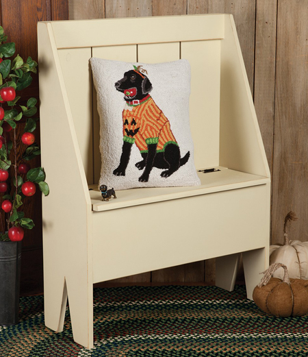 Halloween Black Lab Hooked Wool Pillow | Halloween Clearance
