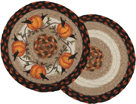 Crow & Pumpkin Braided Jute Trivet