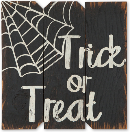 Trick Or Treat Spider Web Sign | Halloween Clearance
