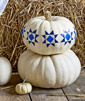 Barn Quilt Pumpkins | Country Living Magazine