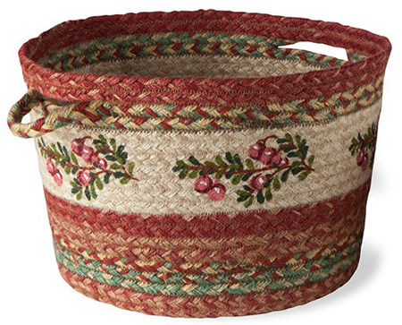 Cranberry Jute Braided Basket