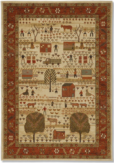 Buttermilk Folk Art Family Rug