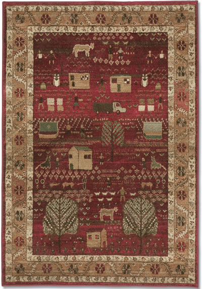 Crimson Folk Art Family Rug