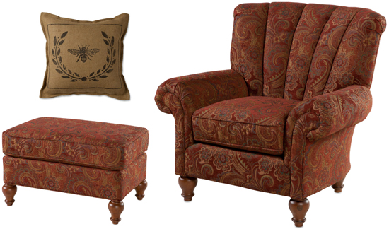 Kingfield Chair, Ottoman, and Queen Bee Burlap Pillow
