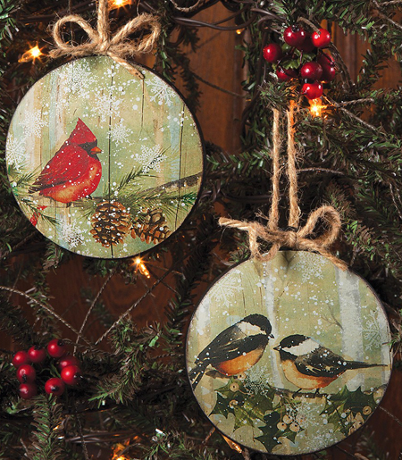 Round Tin Bird Ornament Set