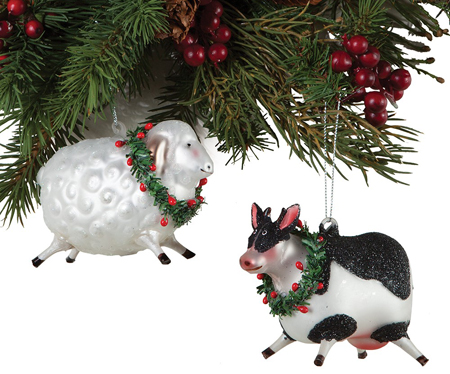 Sheep & Cow Glass Ornament Set