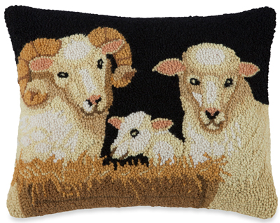 Sheep Family Hooked Wool Pillow | Artist Stephanie Stouffer
